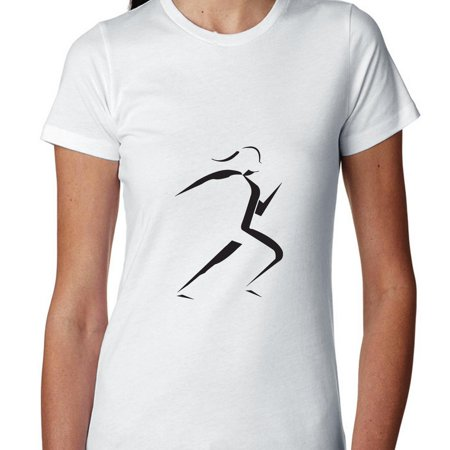 Iconic Female Marathon Running Woman Stencil Women's Cotton (Marathon Running Shirts)
