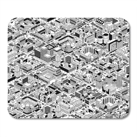 KDAGR City Urban Blocks Large in Isometric Projection is Hand Drawing with Perimeter Courtyards Streets Mousepad Mouse Pad Mouse Mat 9x10