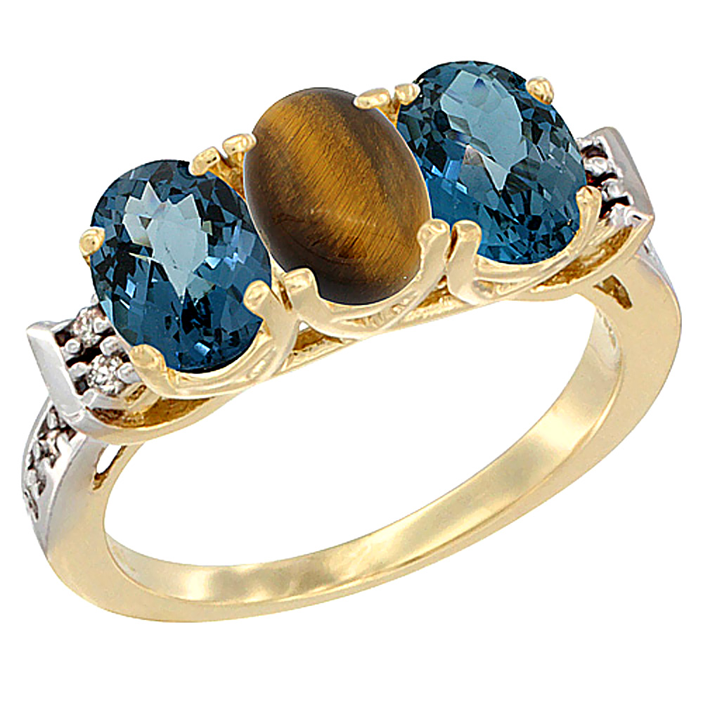 10K Yellow Gold Natural Tiger Eye & London Blue Topaz Sides Ring 3-Stone Oval 7x5 mm Diamond Accent, sizes 5 10 by WorldJewels