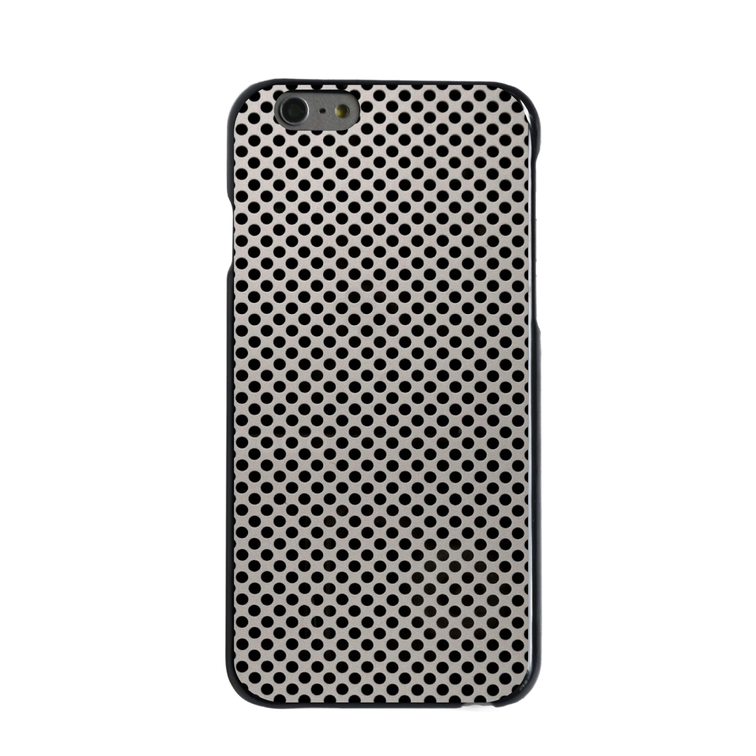"CUSTOM Black Hard Plastic Snap-On Case for Apple iPhone 6 PLUS / 6S PLUS (5.5"" Screen) - Aluminum Holes Pattern"