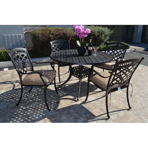 Fleur De Lis Living Wildermuth 5 Piece Dining Set with Cushions