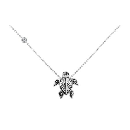 Oxidized Silver Jewellery - Sterling Silver Oxidized White Cubic Zirconia Turtle Necklace 18 Inches