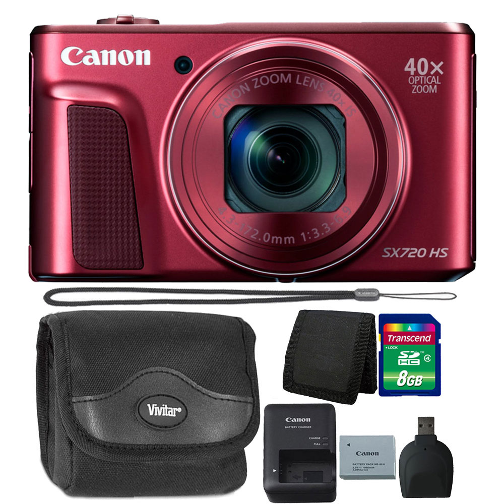 Canon PowerShot SX720 HS 20.3MP 40X Zoom Built-In Wifi / NFC Full HD 1080p Point and Shoot Digital Camera Red Bundle