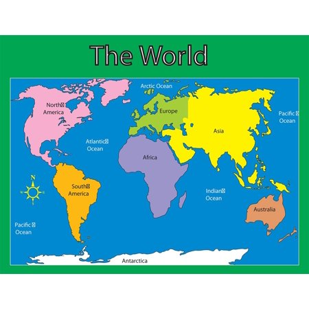 """Carson Dellosa World Map Chart (6246), 17"""" x 22"""" By CarsonDellosa"""