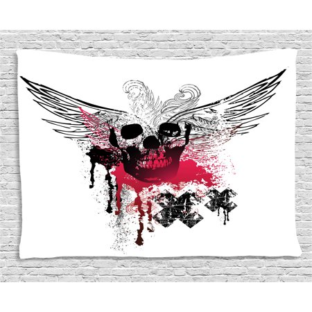 Skull Tapestry, Grunge Wings and Skull with Cross Signs and Color Stains Punk Style Artwork, Wall Hanging for Bedroom Living Room Dorm Decor, 60W X 40L Inches, Black Pink White