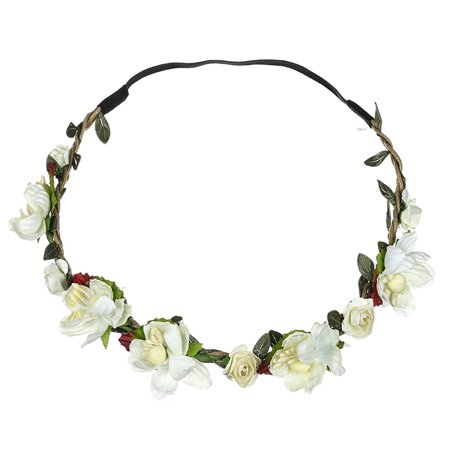 Outtop Boho Ladies Floral Flower Festival Wedding Garland Hair Head Band Beach Party (Silk Flower Headbands)