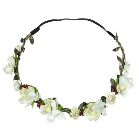 Outtop Boho Ladies Floral Flower Festival Wedding Garland Hair Head Band Beach Party (Flower Headband)