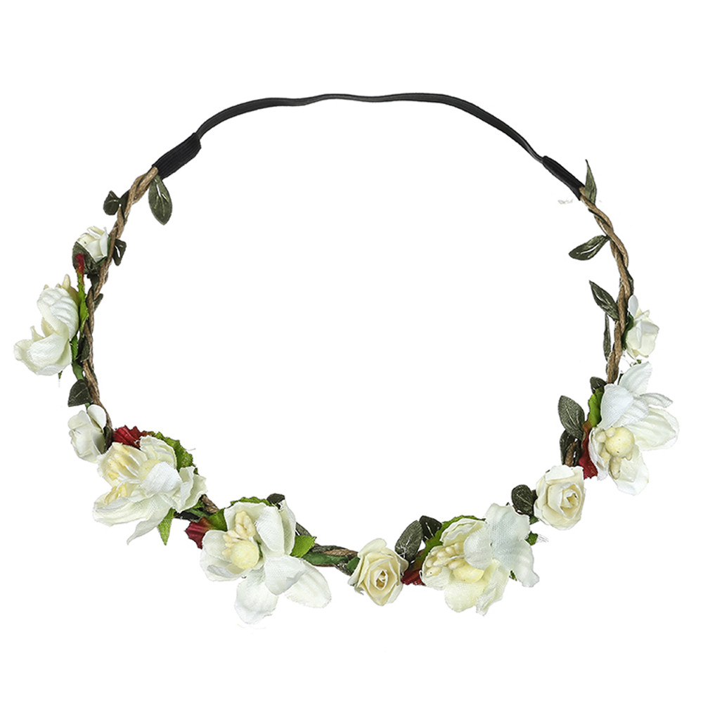 Outtop Boho Ladies Floral Flower Festival Wedding Garland Hair Head Band Beach Party