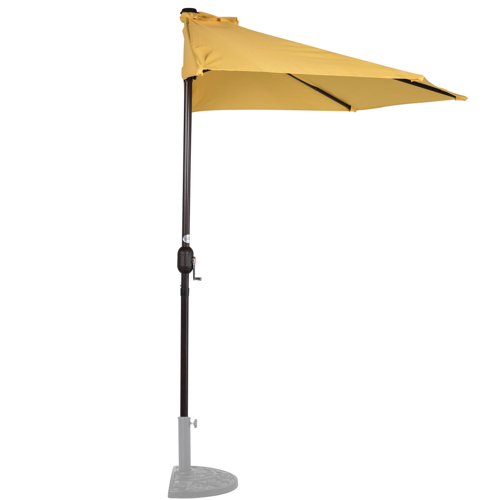 Merveilleux Sundale Outdoor 9 Feet Steel Half Patio Umbrella With Crank, 5 Steel Ribs