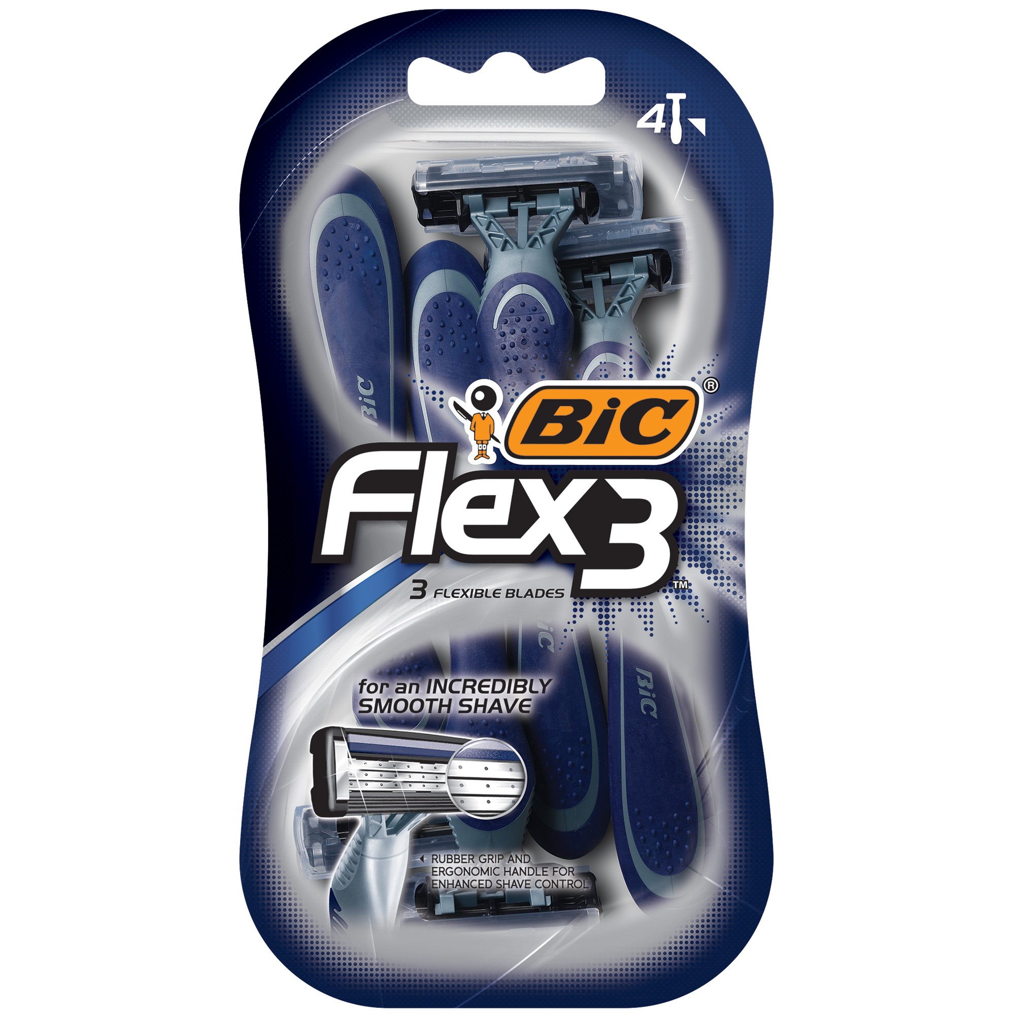 BIC Flex 3 Men's 3 Blade, Disposable Razor, 4-Count