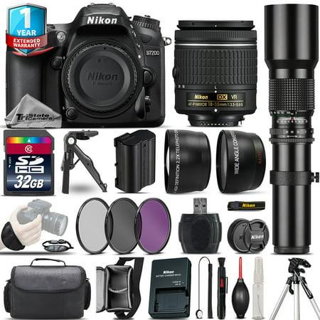 Nikon D7200 DSLR Camera + 18-55mm VR + 500mm Lens + Filter Kit + 1yr (Best Lenses For Nikon D7200)