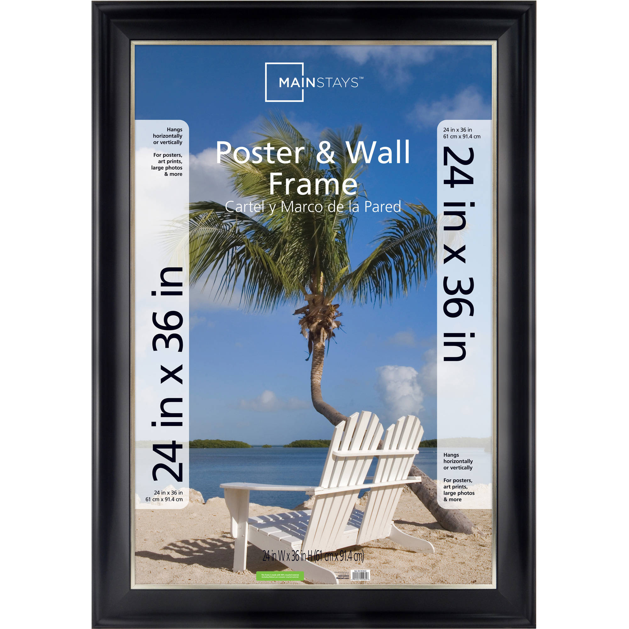 mainstays 24x36 2 tone poster frame black with champagne walmartcom