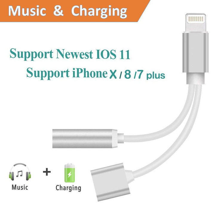 Lightning jack Adapter and Charger,Headphones Adapter and Charging Adapter ,Lightning to 3.5mm Headphone Jack Adapter for iphone 7/7 plus/ iphone 8/8 plus/ iphone X 10.Charge & Listen Support IOS 11
