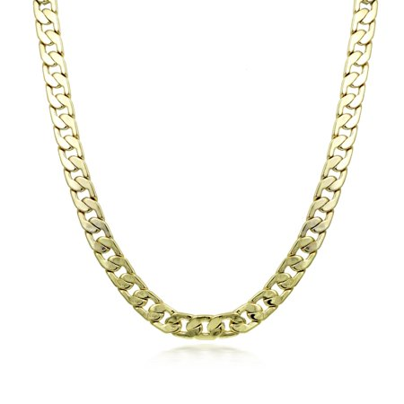 Vintage Gold Tone Link - Gold Tone 4mm Cuban Chain Link Necklace, 18 inches