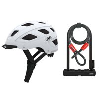 Abus Hyban Urban Bike Helmet (Polar White, Medium) and Ultra 410 U-Lock Kit
