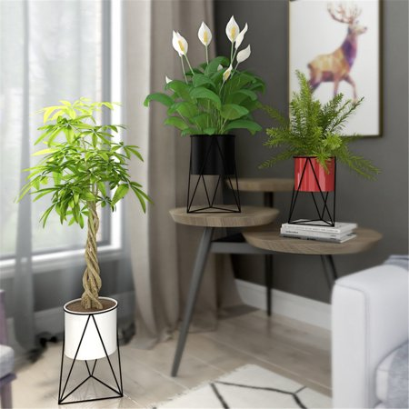 Asewan Planter Pot Indoor Large Succulent Cactus Flower Plant Geometric Bowl with Metal Stand Holder for Indoors Outdoor Home Garden Kitchen Display Decor Black / White ()