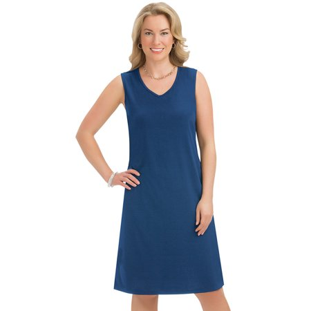 Women's Classic Solid Color Knit Sleeveless Dress with V-Neckline - Cute Seasonal Outfit for Any Occasion, Medium, Navy - Cute Hippie Outfit