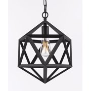 Wrought Iron Polyhedron Vintage Barn Metal Pendant Chandelier