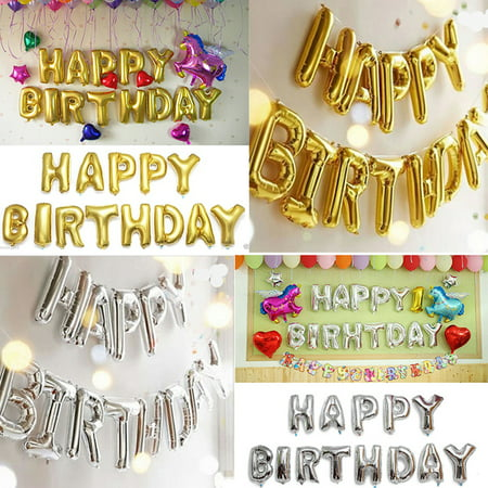 Happy Birthday Balloons, 16'' Gold Silver Happy Birthday Banner Foil Letters Balloons for Birthday Party Decoration, 13Pcs/Set