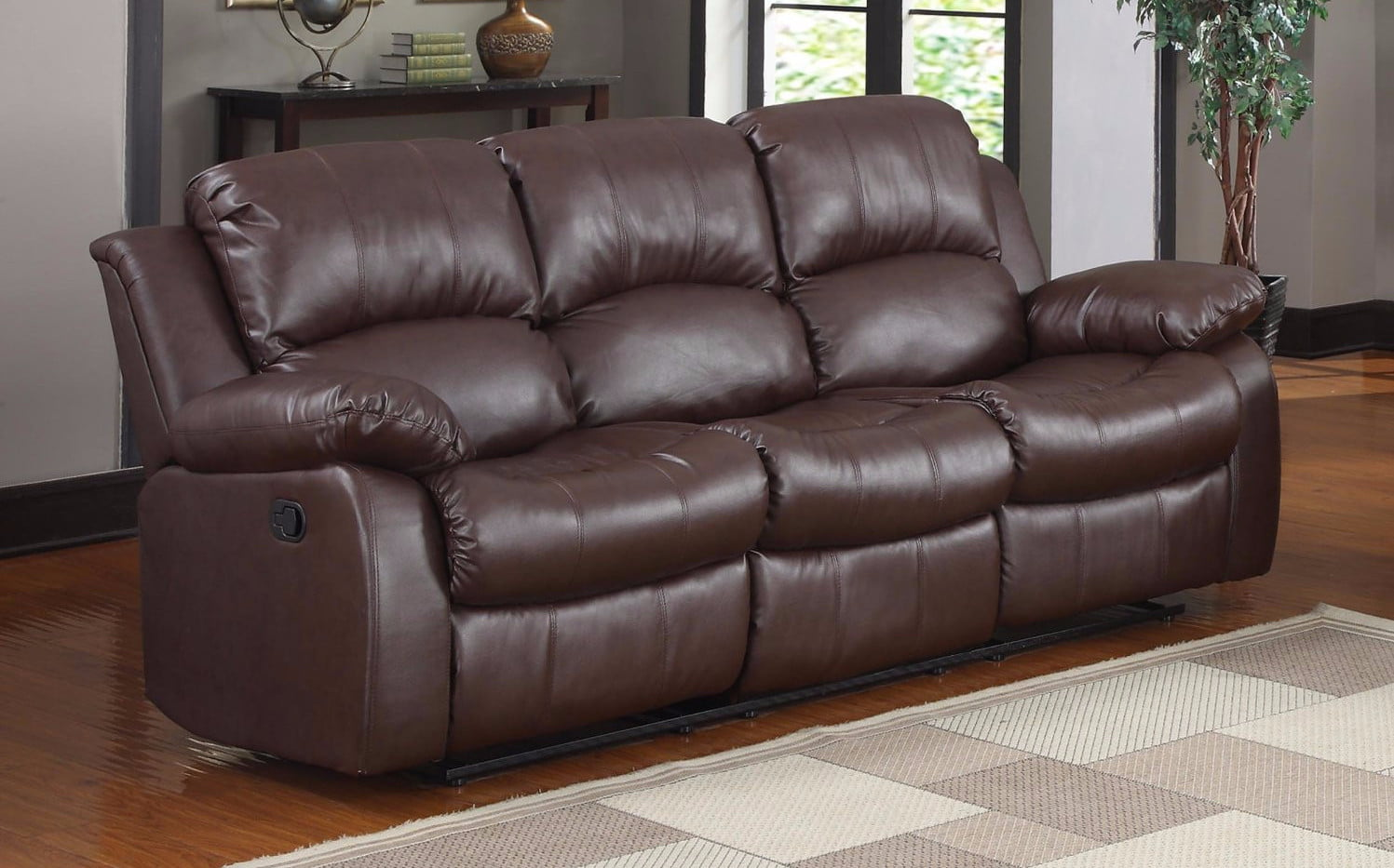 Details about Brown Double Reclining 3 Seat Sofa Bonded Leather Living Room  Recliner Furniture