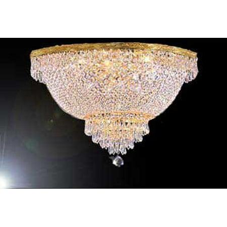 Swarovski Crystal Trimmed Chandelier! Flush Basket Empire Crystal Chandelier