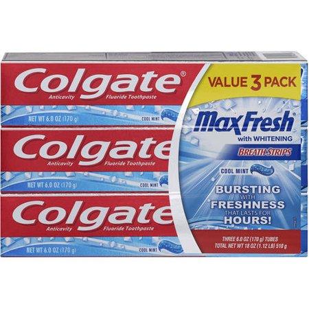 Max frais avec blanchissant bandes de menthe fraîche haleine anticarie fluorure dentifrice comptage 3 6 oz