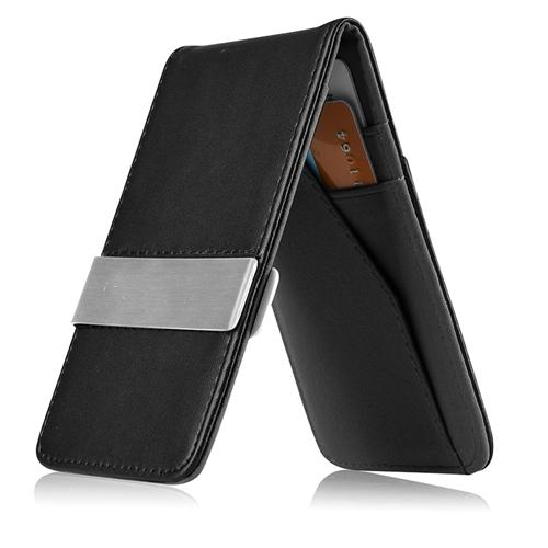 Zodaca Black Mens Faux Genuine Leather Silver Money Clip Slim Wallets ID Credit Card Holder NEW