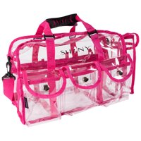 SHANY Clear PVC Makeup Bag - Large Professional Makeup Artist Rectangular Tote with Shoulder Strap and 5 External Pockets - PINK