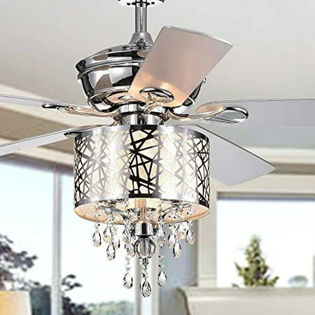 - Garvey 5-blade 52-inch Chrome Ceiling Fan with 3-Light Crystal Chandelier (Remote Controlled)