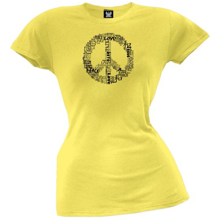Love and Peace Sign Yellow Juniors T-Shirt ()