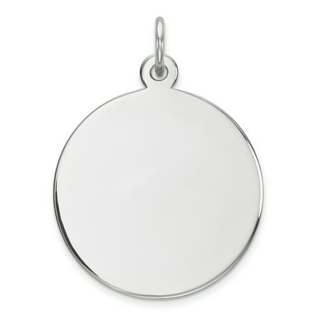 SS Rh-plt Engraveable Round Polished Front/Satin Back Disc Charm QM372/27 (26mm x 20mm) - image 2 of 2