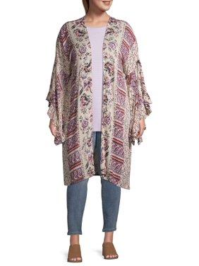 Romantic Gypsy Women's Plus Size Mixed Print Ruffle Sleeve Kimono