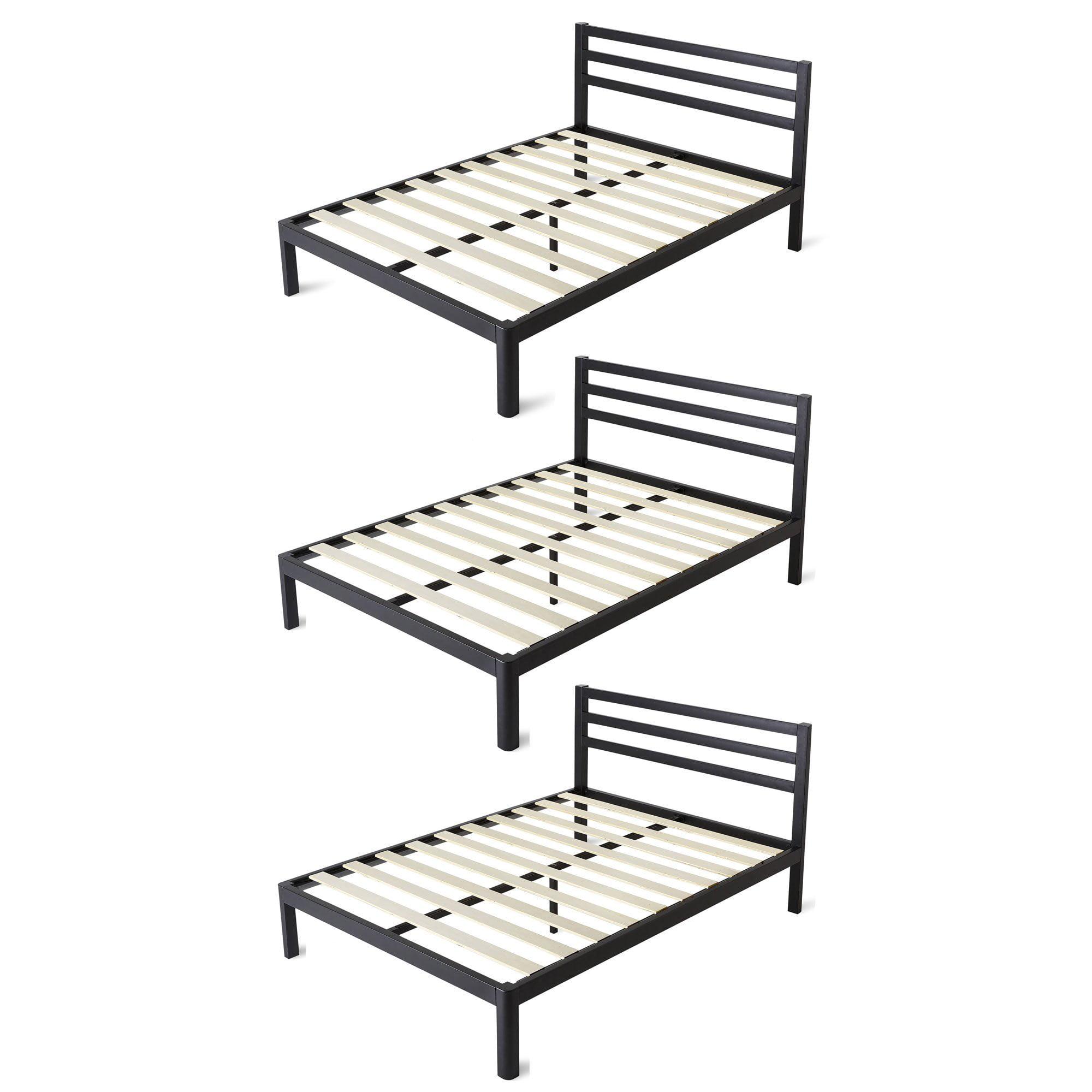 intelliBASE Twin Size Wooden Slat Platform Bed Frame with Headboard (3 Pack)