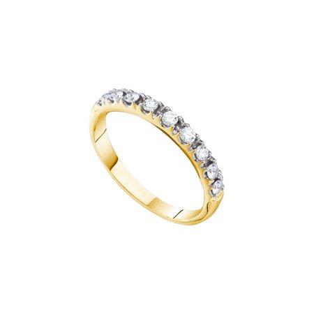 14K Yellow Gold 0.32ctw Fancy Shiny Shared Prong Diamond Single Row Band Ring ()