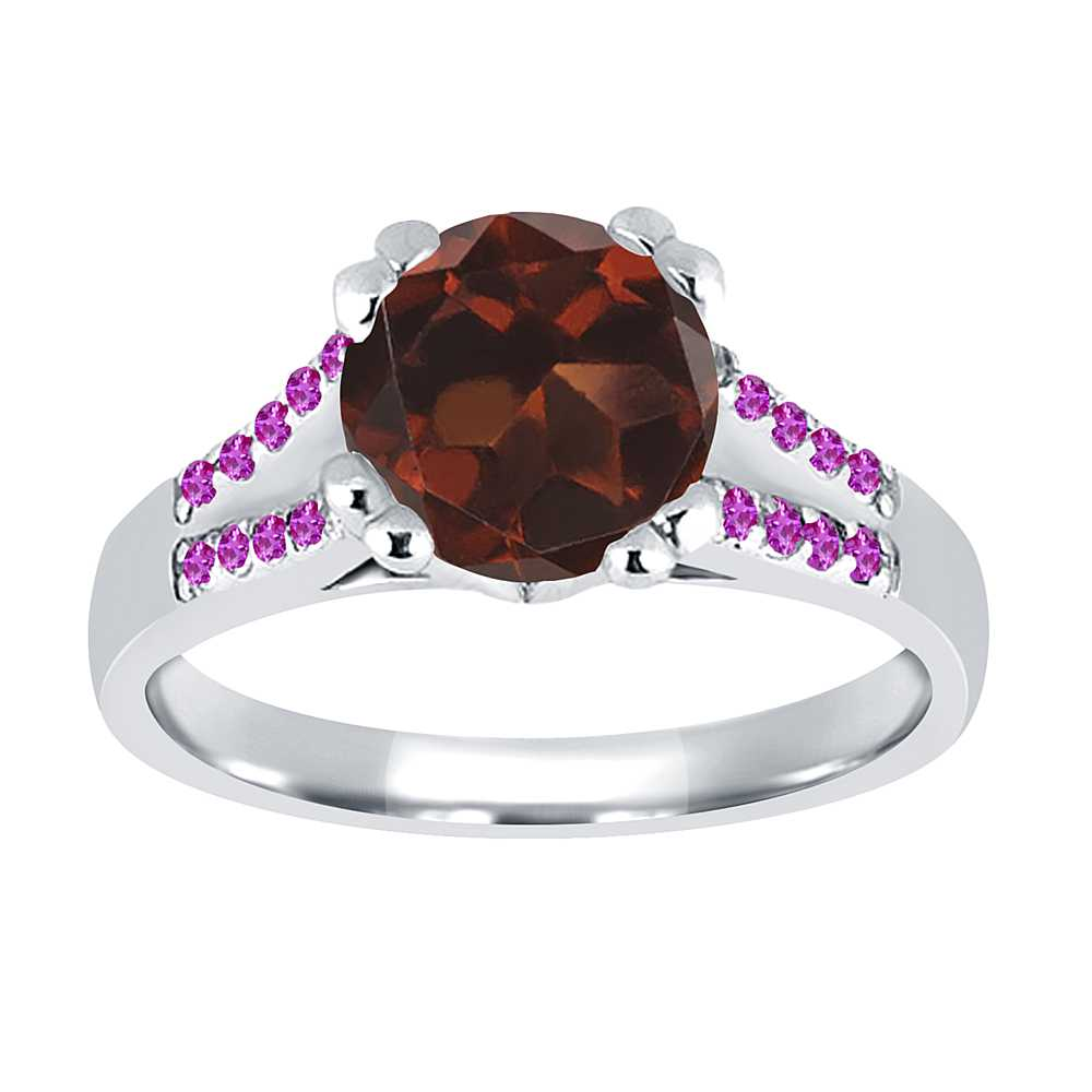 1.20 Ct Round Red Garnet Pink Sapphire 18K White Gold Ring by