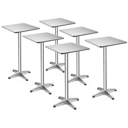 Costway Set of 6 Folding 23.5'' Aluminium Square Bar Table 2 Height Bistro w/ Base 27' Square Bar Table