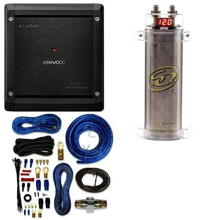 SQCAP2M Power Capacitor W/ 4 Gauge AMP KIT+ Kenwood Excelon X501-1 Mono  subwoofer amplifier - 500 watts RMS x 1 at 2 ohms
