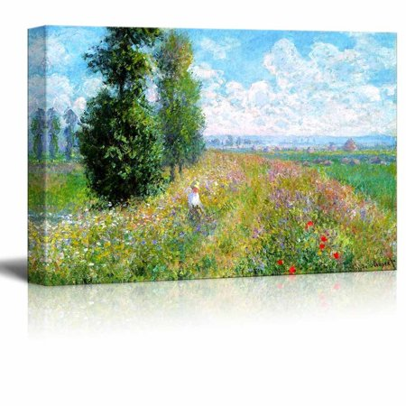 wall26 Meadow with Poplars by Claude Monet - Canvas Print Wall Art Famous Oil Painting Reproduction - 12