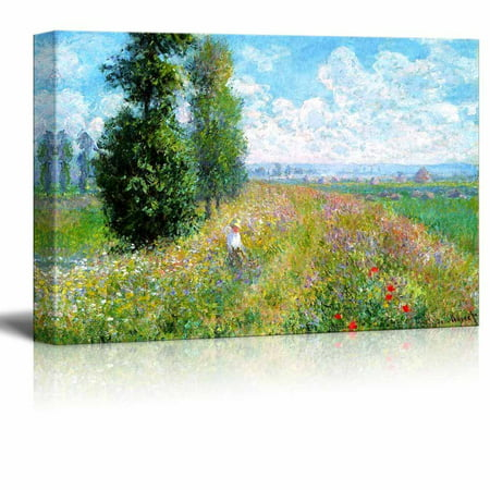 Famous Art Reproductions - wall26 Meadow with Poplars by Claude Monet - Canvas Print Wall Art Famous Oil Painting Reproduction - 12