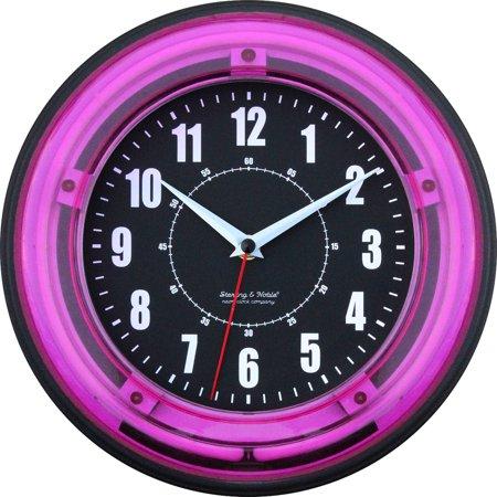 11 Quot Pink Neon Clock Walmart Com