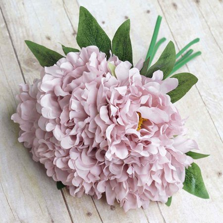 Blush Wedding Decor (Efavormart 5 Head Artificial Peony Silk Bouquet for DIY Wedding Bouquets Centerpieces Decorations - 11