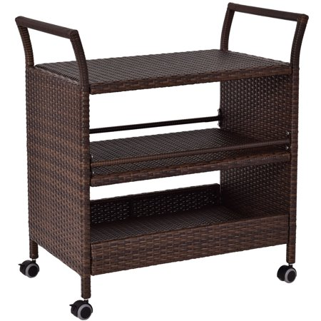 Gymax Rattan Rolling Serving Cart Shelves Rack (Rattan Organizer)