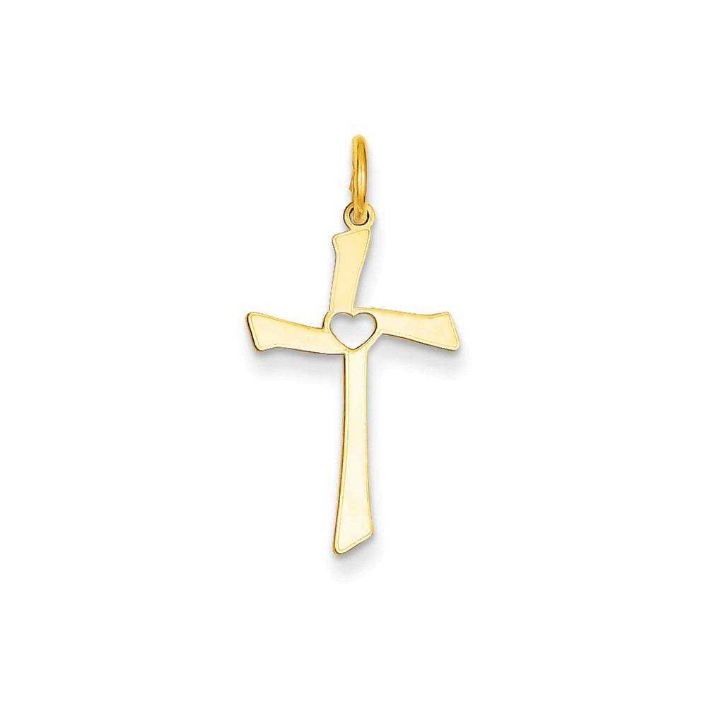 14k Yellow Gold Laser Designed Latin Cross Charm Pendant