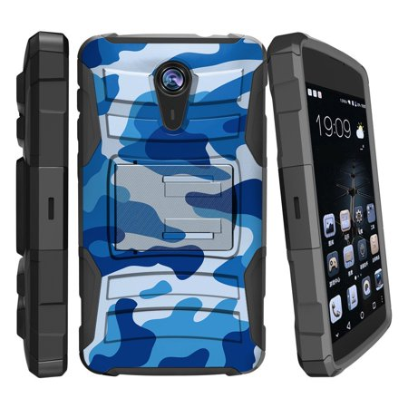 finest selection 85377 87f0e ZTE Quest Case | ZTE N817 Case [ Clip Armor ] Rugged High Impact Defense  Case with Built in Kickstand + Holster - Blue Camouflage