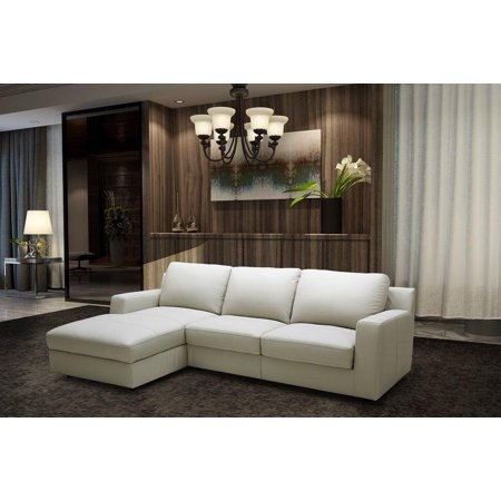 J&M Lauren Contemporary Light Grey Italian Leather Sectional Sleeper Sofa  Sofa Left