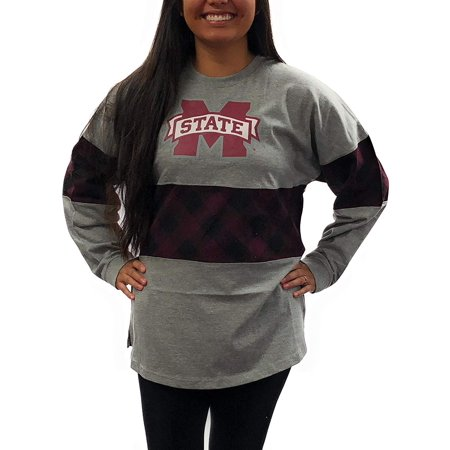 Mississippi State University Alumni - Mississippi State Bulldogs Womens Oversized Tee; Long Sleeve Plaid Stripe T - Shirt University Apparel Clothing