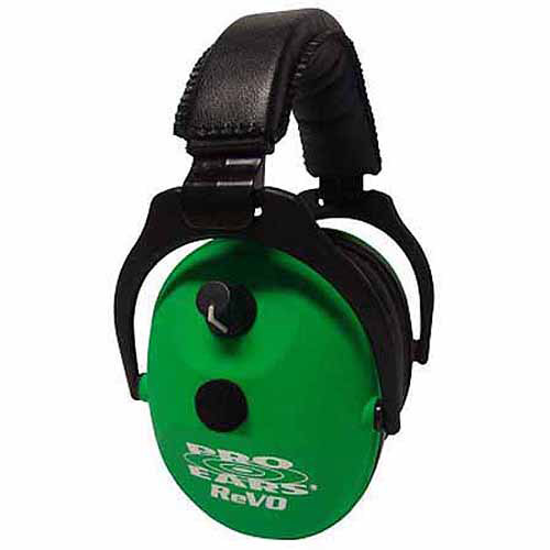 Pro Ears Electronic Hearing Protection ReVO, NRR 25 Heads, Neon, Green