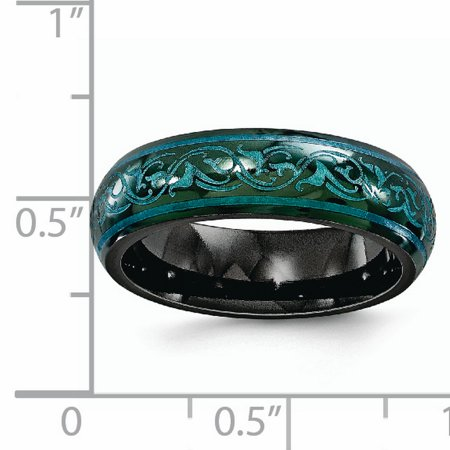 Edward Mirell Black Titanium Domed Anodized Teal 6mm Wedding Ring Band Size 8.50 Classic Fancy Designed Fashion Jewelry For Women Gifts For Her - image 2 of 9