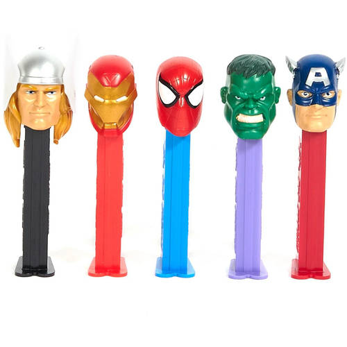 PEZ Marvel Avengers Candy & Dispenser, 4 pc