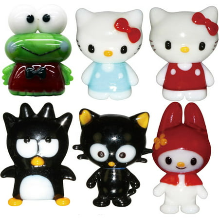 Hello Kitty Glass World Miniature Glass Figurines, 6-Pack, Hello Kitty 1/Hello Kitty 2/Badtz-Maru/Chococat/Keroppi/My Melody